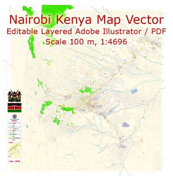 Nairobi Kenya Map Vector Exact City Plan detailed Street Map editable Adobe Illustrator in layers