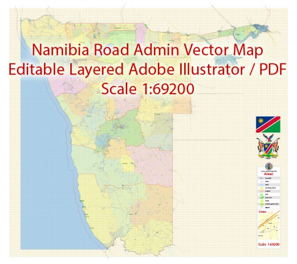 Namibia Map Vector Exact Country Plan detailed Road Admin Map editable Adobe Illustrator in layers