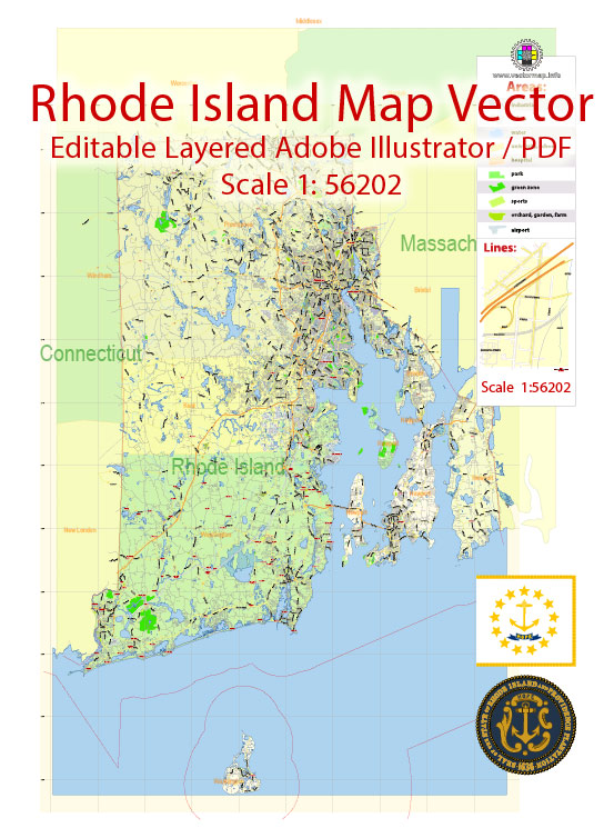 Rhode Island State Map Vector Exact Plan detailed Road Admin Map editable Adobe Illustrator in layers