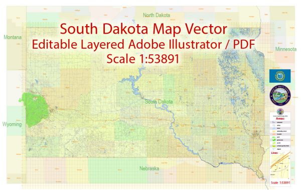 South Dakota State Map Vector Exact Plan detailed Road Admin Map editable Adobe Illustrator in layers