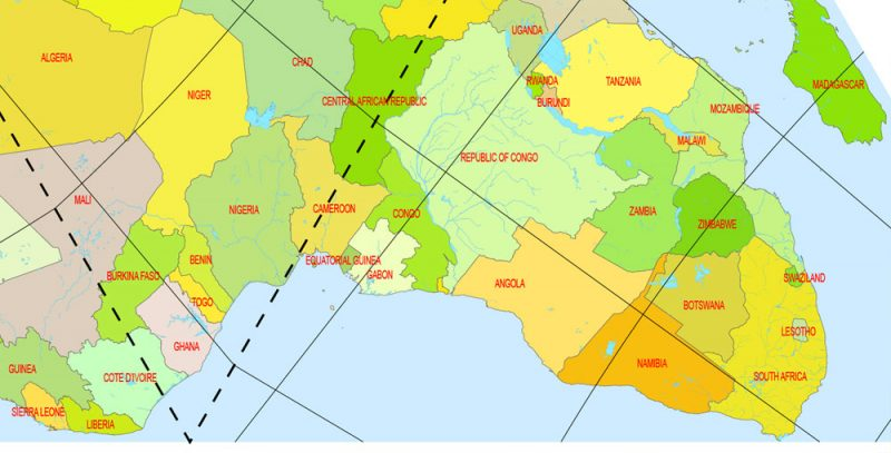 World Vector Map Dymaxion Projection Adobe Illustrator Detailed Country names