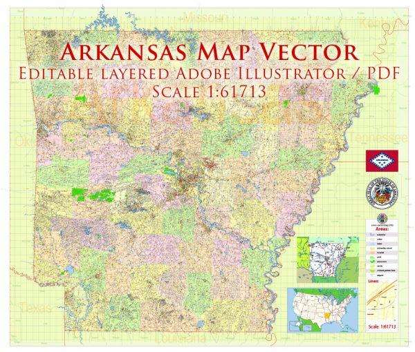 Arkansas US Map Vector Exact State Plan High Detailed Street Road Admin Map editable Adobe Illustrator in layers