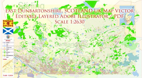 East Dunbartonshire Scotland UK Map Vector Exact State Plan High Detailed Street Road Admin Map editable Adobe Illustrator in layers