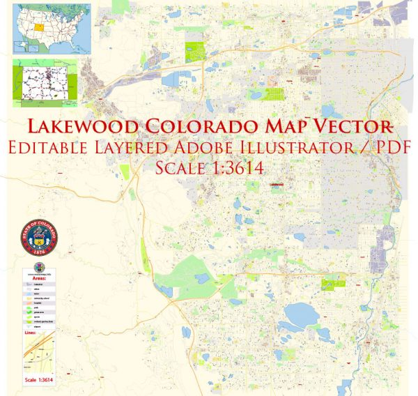 Lakewood Colorado US Map Vector Exact State Plan High Detailed Street Map editable Adobe Illustrator in layers