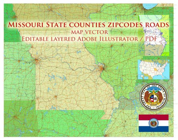 Missouri US Map Vector Exact State Plan Main Roads Railroads Admin Zipcodes Map editable Adobe Illustrator in layers