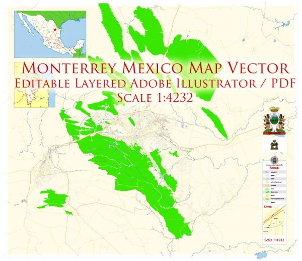 Monterrey Mexico Map Vector Exact City Plan Metro Area High Detailed Street Map editable Adobe Illustrator in layers