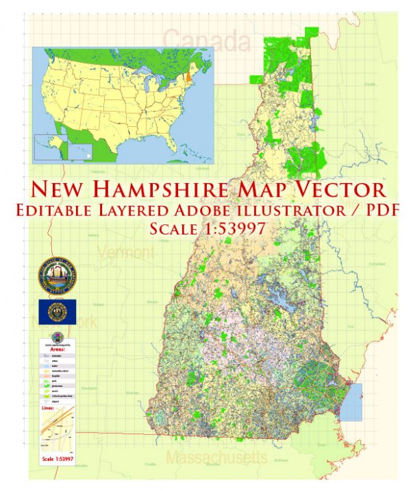 New Hampshire US Map Vector Exact State Plan High Detailed Street Road Admin Map editable Adobe Illustrator in layers