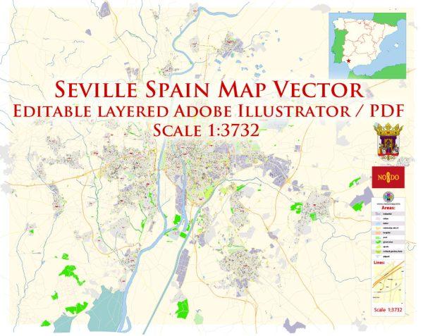 Seville Spain Map Vector Exact City Plan High Detailed Street Map editable Adobe Illustrator in layers
