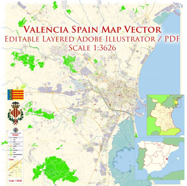 Valencia Spain Map Vector Exact City Plan High Detailed Street Map editable Adobe Illustrator in layers