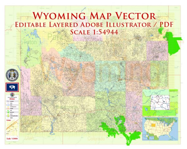 Wyoming US Map Vector Exact State Plan High Detailed Street Road Admin Map editable Adobe Illustrator in layers