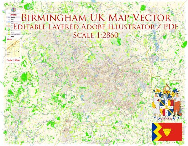 Birmingham UK Map Vector Exact City Plan High Detailed Street Map editable Adobe Illustrator in layers