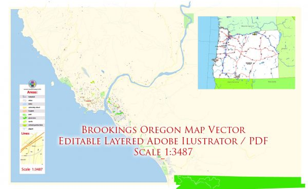 Brookings Oregon Map Vector Exact City Plan High Detailed Street Map editable Adobe Illustrator in layers
