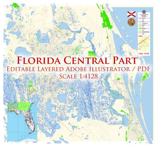 Florida Central Part with Orlando US Map Vector Exact City Plan High Detailed Street Map editable Adobe Illustrator in layers