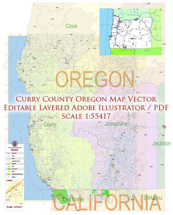 Curry County Oregon Map Vector Exact County Plan Detailed Road Admin Zipcodes Map editable Adobe Illustrator in layers