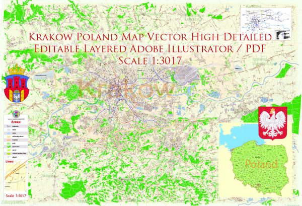 Krakow Poland Map Vector Exact City Plan High Detailed Street Map editable Adobe Illustrator in layers
