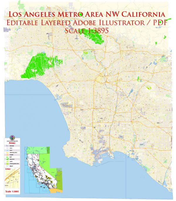 Los Angeles Metro NW California Map Vector Exact City Plan High Detailed Street Map editable Adobe Illustrator in layers