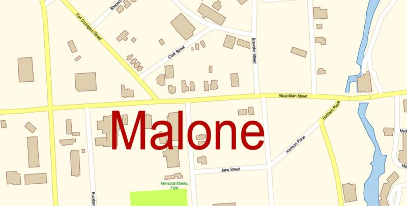Malone New York Map Vector Exact City Plan High Detailed Street Map editable Adobe Illustrator in layers