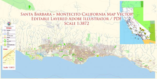 Santa Barbara + Montecito California Map Vector Exact City Plan High Detailed Street Map editable Adobe Illustrator in layers