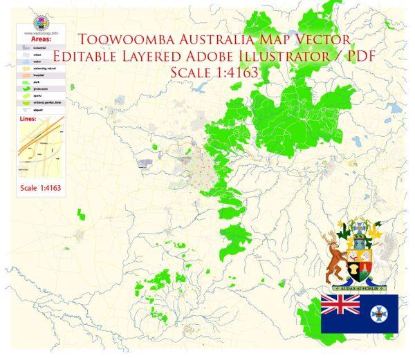 Toowoomba Queensland Australia Map Vector Exact City Plan High Detailed Street Map editable Adobe Illustrator in layers