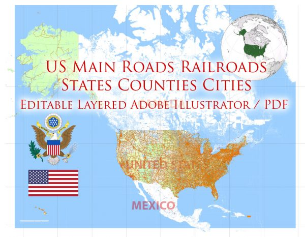 United States Map Vector 01 02 Main Roads, Railroads, Cities, States, Counties exact editable Adobe Illustrator