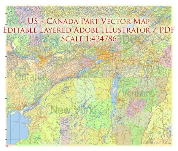 US North-East + Canada South-East Part Map Vector Exact Plan Detailed Road Admin Map editable Adobe Illustrator in layers
