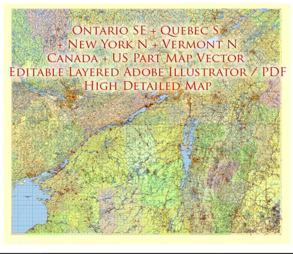 US North East + Canada South East part Map Vector Exact Plan High Detailed Road Admin Map editable Adobe Illustrator in layers