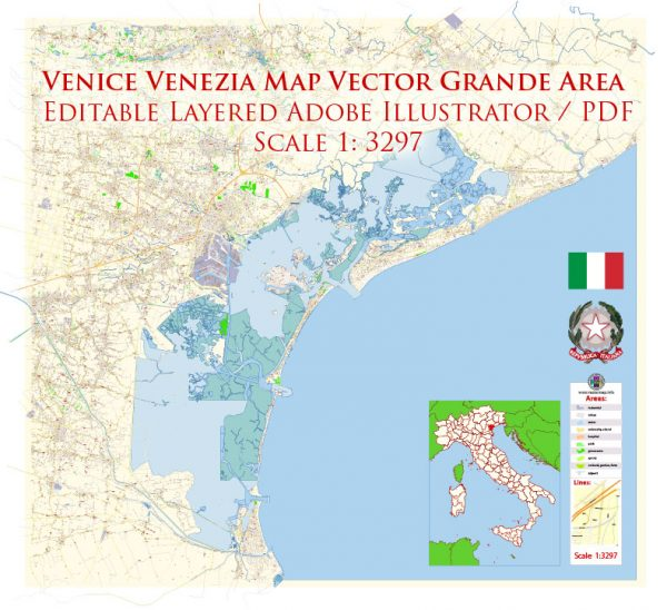 Venice Venezia Italy Map Vector Exact City Plan High Detailed Street Map editable Adobe Illustrator in layers