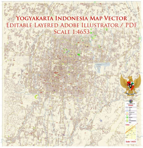 Yogyakarta Indonesia Map Vector Exact City Plan High Detailed Street Map editable Adobe Illustrator in layers