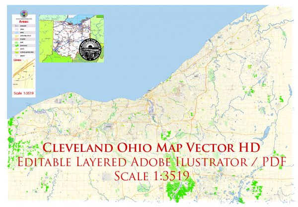 Cleveland Ohio US Map Vector Exact City Plan High Detailed Street Map editable Adobe Illustrator in layers