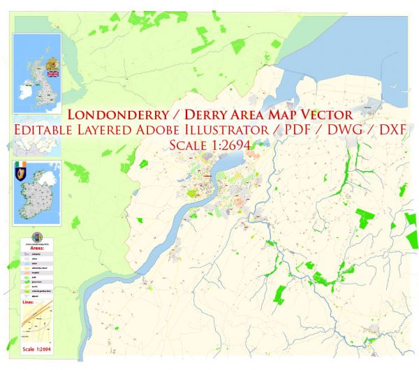 Londonderry Derry area UK Map Vector Exact City Plan High Detailed Street Map editable Adobe Illustrator in layers