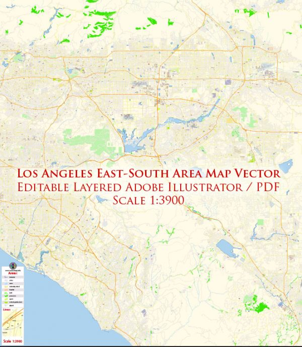 Los Angeles Metro Soutn East part California Map Vector Exact City Plan High Detailed Street Map editable Adobe Illustrator in layers