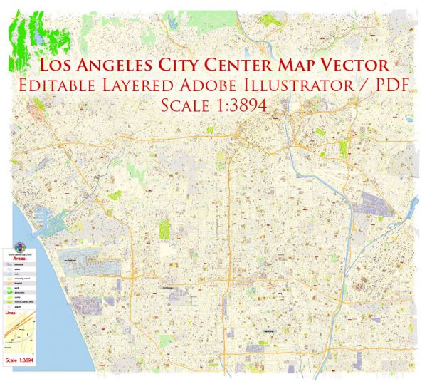 Los Angeles City Center California US Map Vector Exact City Plan High Detailed Street Map editable Adobe Illustrator in layers