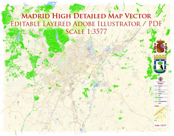 Madrid Spain Map Vector Exact City Plan High Detailed Street Map editable Adobe Illustrator in layers