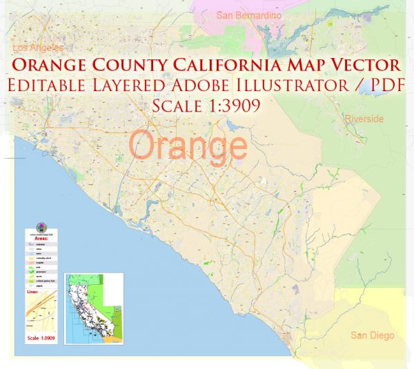 Orange County California US Map Vector Exact City Plan High Detailed Street Map editable Adobe Illustrator in layers