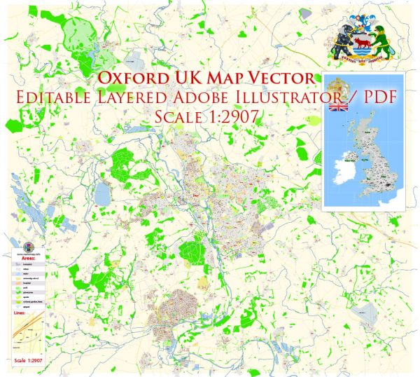 Oxford UK Map Vector Exact City Plan High Detailed Street Map editable Adobe Illustrator in layers