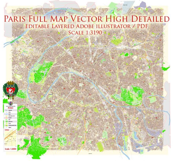 Paris Grand France Map Vector Exact City Plan High Detailed Street Map editable Adobe Illustrator in layers