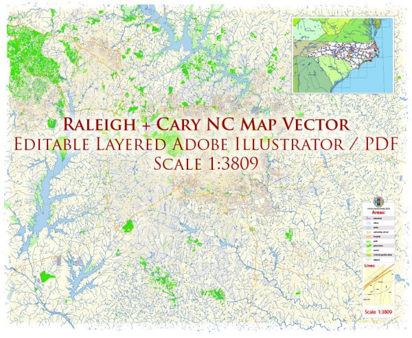 Raleigh + Cary + Durham North Carolina US Map Vector Exact City Plan High Detailed Street Map editable Adobe Illustrator in layers