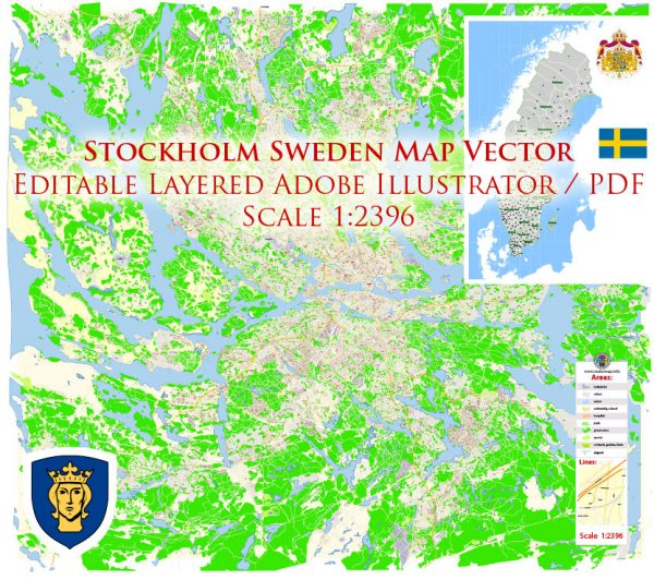 Stockholm Sweden Map Vector Exact City Plan High Detailed Street Map editable Adobe Illustrator in layers