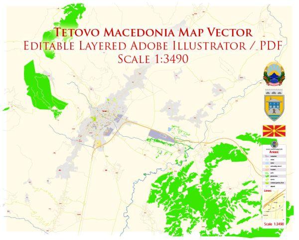 Tetovo Macedonia Map Vector Exact City Plan High Detailed Street Map editable Adobe Illustrator in layers