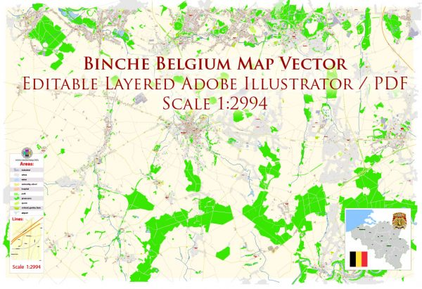 Binche Belgium Map Vector Exact City Plan High Detailed Street Map editable Adobe Illustrator in layers