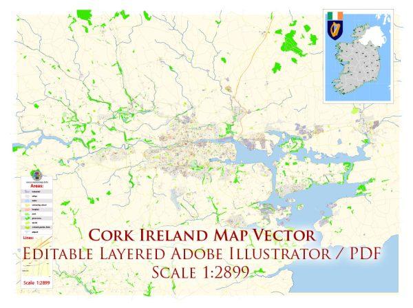 Cork Ireland Map Vector Exact City Plan High Detailed Street Map editable Adobe Illustrator in layers