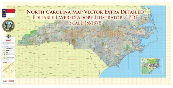 North Carolina US Map Vector Exact Plan High Detailed Road Admin Map editable Adobe Illustrator in layers