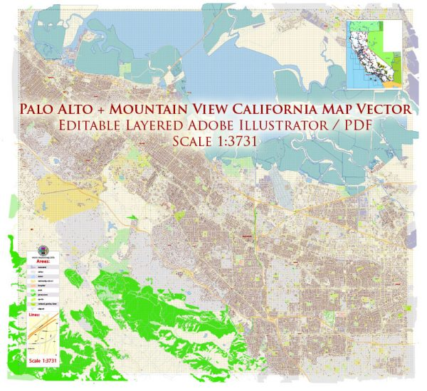 Palo Alto + Mountain View California US Map Vector Exact City Plan High Detailed Street Map editable Adobe Illustrator in layers