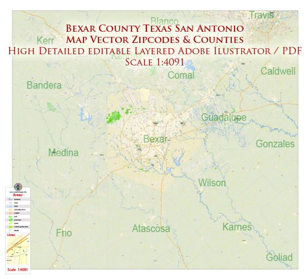 Bexar County San Antonio Texas US Map Vector Exact area Plan High Detailed Street Map + admin + Zipcodes editable Adobe Illustrator in layers