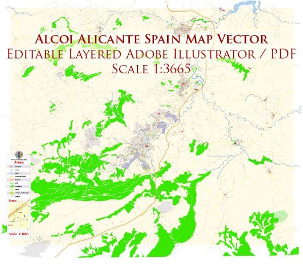 Alcoi Alcoy Alicante Spain Map Vector Exact City Plan High Detailed Street Map editable Adobe Illustrator in layers
