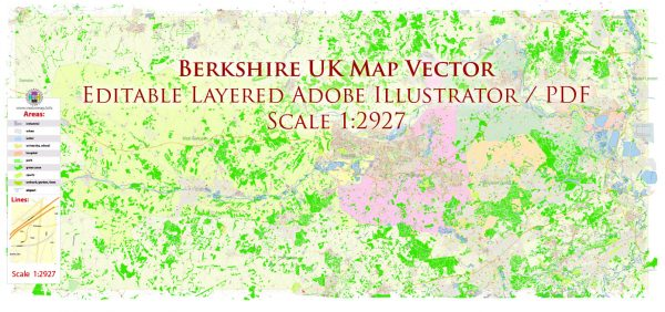 Berkshire UK England Map Vector Exact City Plan High Detailed Street Map editable Adobe Illustrator in layers