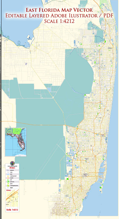 East Florida (Miami - Jupiter area) US Map Vector Exact City Plan High Detailed Street Map editable Adobe Illustrator in layers