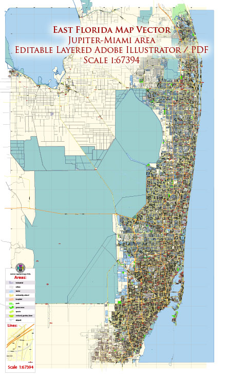 East Florida Jupiter-Miami area US Map Vector Exact City Plan Low Detailed Street Map editable Adobe Illustrator in layers