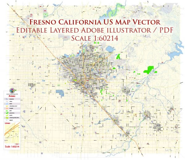 Fresno California US Map Vector Exact City Plan Low Detailed Street Map editable Adobe Illustrator in layers