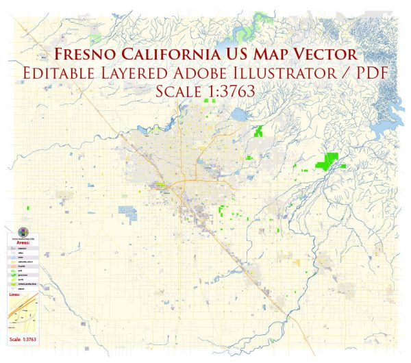 Fresno California US Map Vector Exact City Plan High Detailed Street Map editable Adobe Illustrator in layers